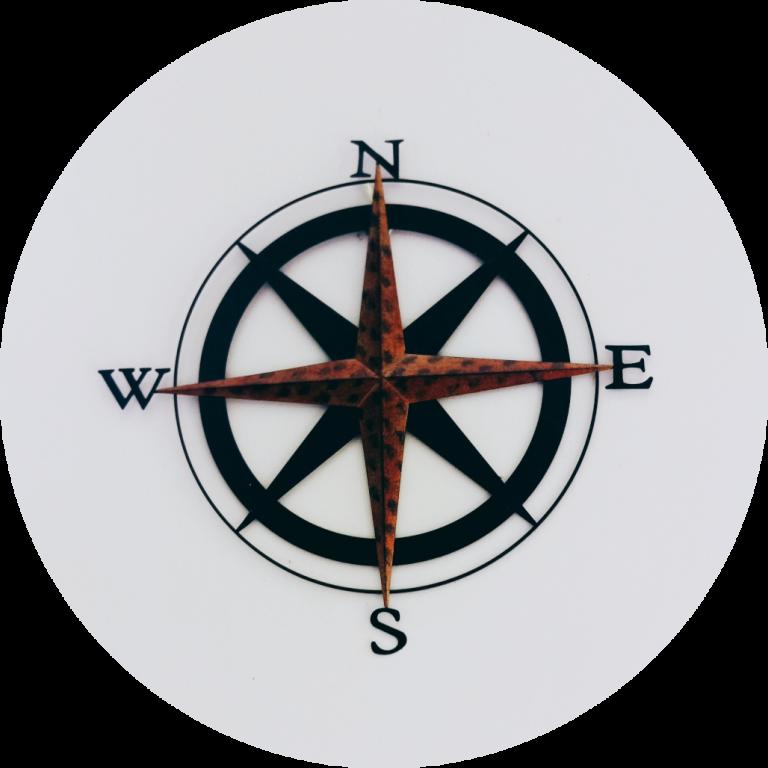 Rundes Bild von einem Kompass