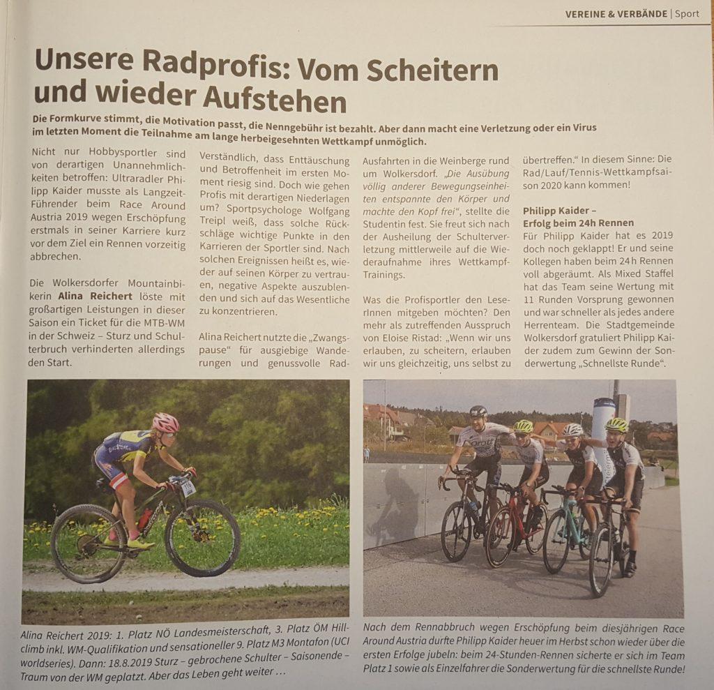 Der Sportpsychologe in den Medien - Gemeindezeitung Wolkersdorf 11/2019